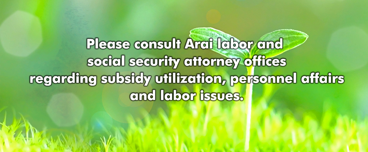 Please consult Arai labor and social security attorney offices regarding subsidy utilization, personnel affairs and labor issues.